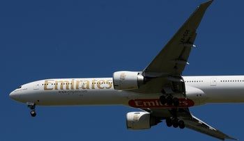 An Emirates passenger plane comes in to land at London Heathrow airport, London, May 21, 2020.