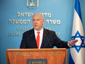 Benjamin Netanyahu speaking at the Prime Minister's Office, September 2020.