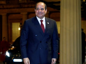 Egypt's President Abdel Fattah al-Sisi arrives at Buckingham Palace for a reception to mark the UK-Africa Investment Summit in London, January 20, 2020.