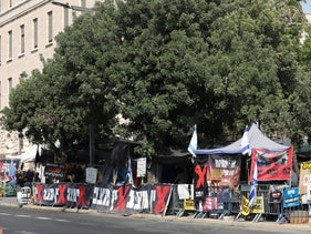 A protest tent in front of the Prime Minister's residence on Balfour Street in Jerusalem, September 2020