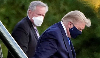 President Donald Trump arrives at Walter Reed National Military Medical Center, in Bethesda, Md., October 2, 2020.