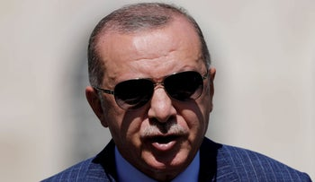 Turkish President Tayyip Erdogan talks to the media after attending Friday prayers in Istanbul, Turkey, August 7, 2020.