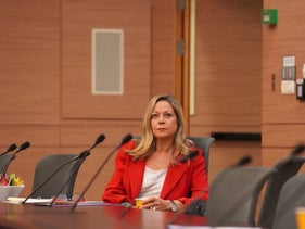 Kahol Lavan lawmaker Miki Haimovich at the Knesset in Jerusalem in April 2020