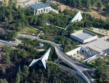 Aerial view of the new Yad Vashem Holocaust museum designed by Moshe Safdieת November 15, 2013.