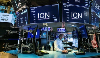 A specialist works at his post on the trading floor during the listing of ION Acquisition Corp 1 Ltd., from Israel, Friday, October 2, 2020.