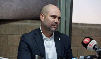 Public Security Minister Amir Ohana speaks during a press conference in Sderot, August 16, 2020.