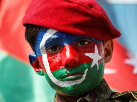 Yusuf, a six-year-old boy from Azerbaijan with his face painted in the colours of the Azerbaijan flag at a protest against Armenia. Istanbul, Turkey, October 4, 2020