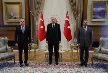 Turkish President Tayyip Erdogan meets with Azerbaijan's Foreign Minister Jeikhun Bayramov and Defence Minister Sakir Hasanov in Ankara, Turkey August 11, 2020