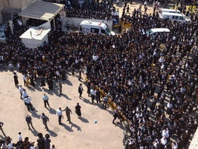 The funeral procession for the Admor of Pittsburgh, in Ashdod, October 5, 2020.