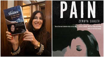 """Zeruya Shalev and the cover of her book """"Pain."""""""