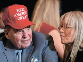 Sheldon and Miriam Adelson listen as Donald Trump delivers remarks at a rally in Las Vegas, Nevada, on February 21, 2020.
