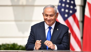 Prime Minister Benjamin Netanyahu at the signing of the normalization agreements between Israel and the United Arab Emirates and Bahrain at the White House in Washington, D.C., September 15, 2020.