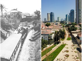 Left: A train documented the railroad tracks in 1945 by Zoltan Kluger. Right: Park Hamesila in Tel Aviv, seen from the air, in 2020.