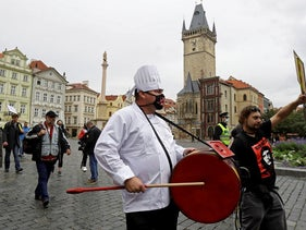 Demonstrators protesting the Czech government's restrictions on restaurants and bars march across the Old Town Square as the spread of the coronavirus disease (COVID-19) continues in Prague, Czech Republic, October 5, 2020