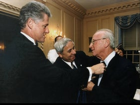 Eitan Haber with Rabin and Clinton on a visit to Washington in 1995/