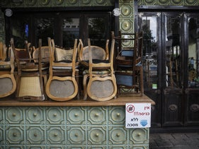 A restaurant shut during Israel's second nationwide coronavirus lockdown, Tel Aviv, September 24, 2020.