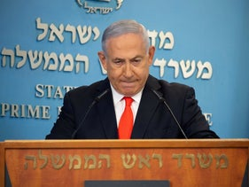 Netanyahu in the Prime Minister's Office in Jerusalem, September 2020
