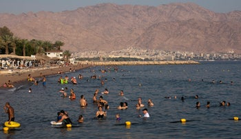 A view of the beach in Eilat, 2019.