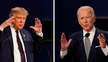 President Donald Trump, left, and former Vice President Joe Biden during the first presidential debate at Case Western University and Cleveland Clinic, in Cleveland, Ohio, September 29, 2020.