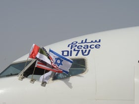 The words 'peace' in Arabic, English and Hebrew painted on the first civilian aircraft to fly direct between Tel Aviv and Abu Dhabi, August 31, 2020.