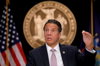Andrew Cuomo delivers a COVID-19 update during a briefing in New York City, July 13, 2020.