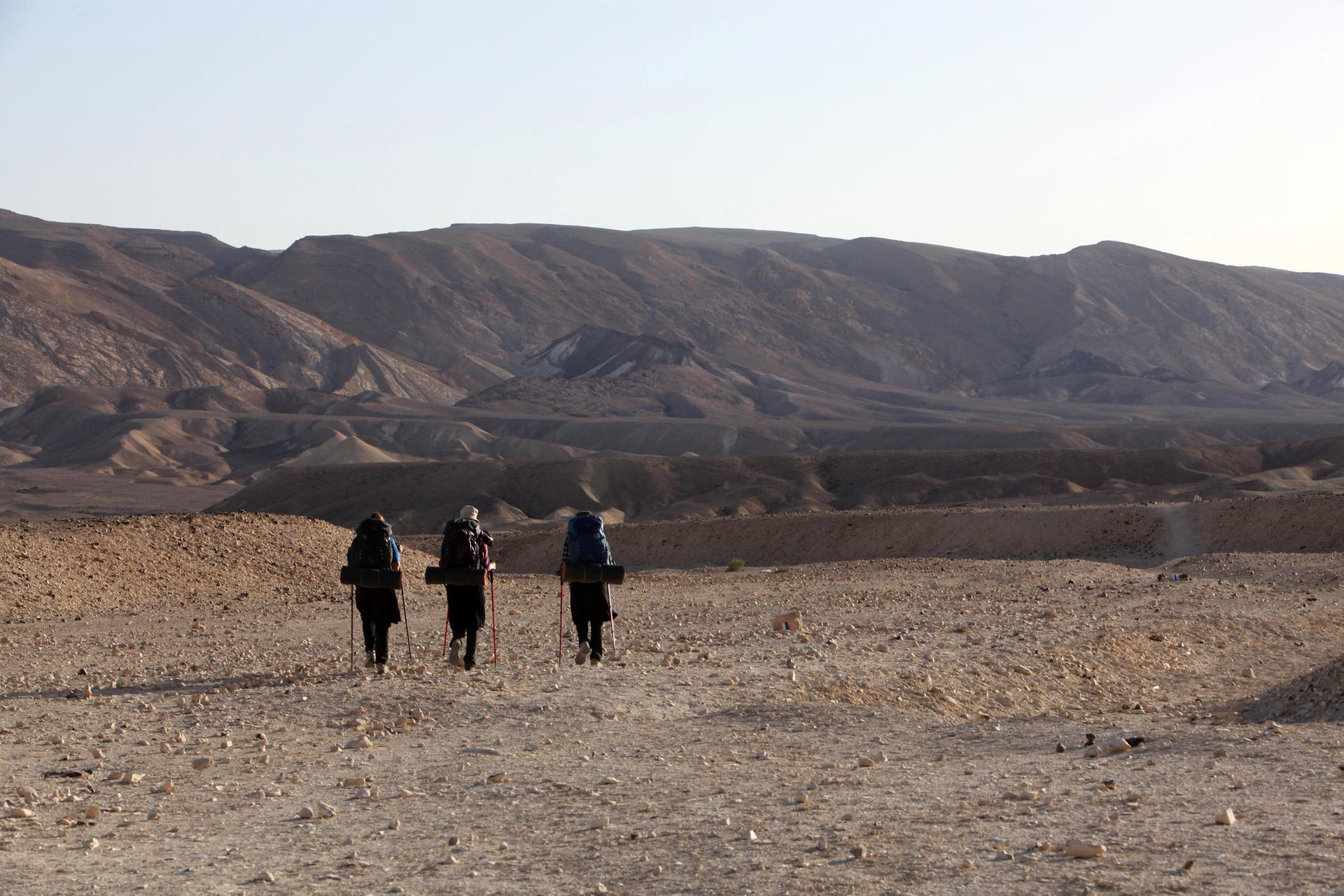 Hikers in Hod Akev in the Negev, a part of the Israel Trail.