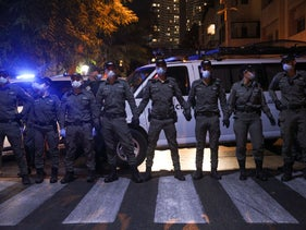 Police officers at an anti-Netanyahu protest in Tel Aviv, October 6, 2020.