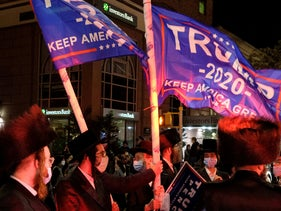 Orthodox Jews waving Trump flags in the Borough Park neighborhood of Brooklyn, October 7, 2020.