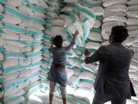 Workers handle sacks of wheat flour at a World Food Program food aid distribution center in Sanaa, Yemen February 11, 2020.