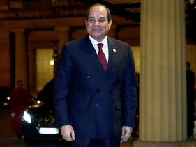 Egyptian President Abdel-Fattah al-Sissi on a visit to London in January 2020.