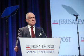 World Jewish Council President Ron Lauder speaks at the Jerusalem Post annual conference in New York, May 22, 2016.