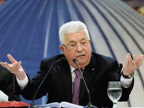 Abbas speaks at a meeting of the Palestinian leadership in Ramallah, January 22, 2020.