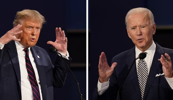 President Donald Trump and former Vice President Joe Biden during the first presidential debate in Cleveland, Ohio, September 29, 2020.