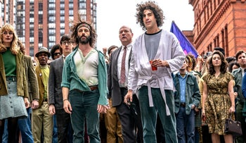 "Jeremy Strong and Sacha Baron Cohen as ""Yippies"" Jerry Rubin and Abbie Hoffman in Netflix's ""The Trial of the Chicago 7."""