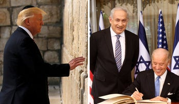 Right: Biden and Netanyahu in Jerusalem, 2010; Left: Trump at the Western Wall, 2017