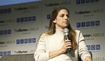 Keren Terner-Eyal speaks at a TheMarker conference in Tel Aviv, November 2019.