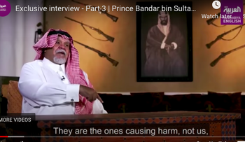 Former Saudi intelligence chief and ex-ambassador to the U.S. Prince Bandar bin Sultan during an interview, one of three in the Al Arabiya TV series on Israel, Palestine and normalization