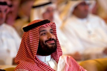 Saudi Crown Prince Mohammed bin Salman smiles as he attends the Future Investment Initiative summit in Riyadh, Saudi Arabia. Oct. 23, 2018