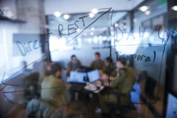 Israeli army soldiers working on artificial intelligence for the IDF