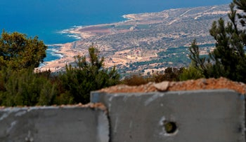 The Naqoura Bay south of the Lebanese city of Tyre as seen behind a new wall on the Israeli-Lebanese border, September 5, 2018.