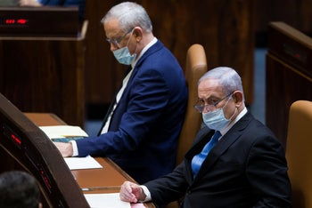 Defense Minister Benny Gantz and Prime Minister Benjamin Netanyahu in the Knesset, Jerusalem, August 24, 2020.