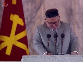 North Korean Leader Kim Jong Un reacts during a speech at a military parade marking 75th founding anniversary of Workers' Party of Korea (Wpk), in this still image taken from video on October 12, 2020