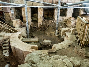 The excavation under Wilson's Arch, where a small Roman theater was uncovered at the foot of the Western Wall.