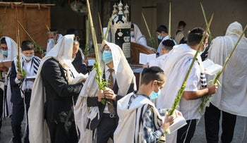 Ultra-Orthodox men pray during the Jewish holiday of Sukkot, Bnei Brak, October 2020.