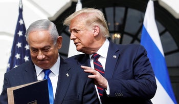 Benjamin Netanyahu stands with U.S. President Donald Trump after signing the Abraham Accords, the White House, Washington, U.S., September 15, 2020.