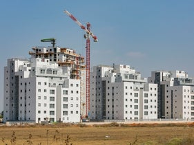 Apartment complexes being built in a new neighborhood of Beit Dagain, September 13, 2020.