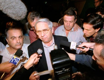 Eitan Haber announces the death of Israeli Prime Minister Yitzhak Rabin, assassinated by a Jewish extremist, on November 4, 1995. Haber, a former journalist and adviser to Rabin, died October 7, 2020