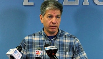 In this Saturday, Nov. 12, 2016, file photo, Anchorage Mayor Ethan Berkowitz addresses reporters at a news conference in Anchorage, Alaska. Berkowitz on Monday, Oct. 12, 2020