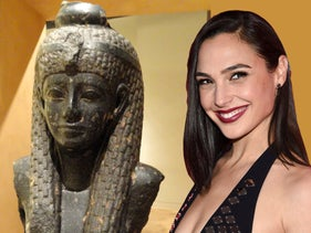Gal Gadot (right) superimposed on photograph of Cleopatra VII statue fragment, at the Royal Ontario Museum