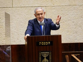 Netanyahu speaking at the Knesset plenum, October 12, 2020